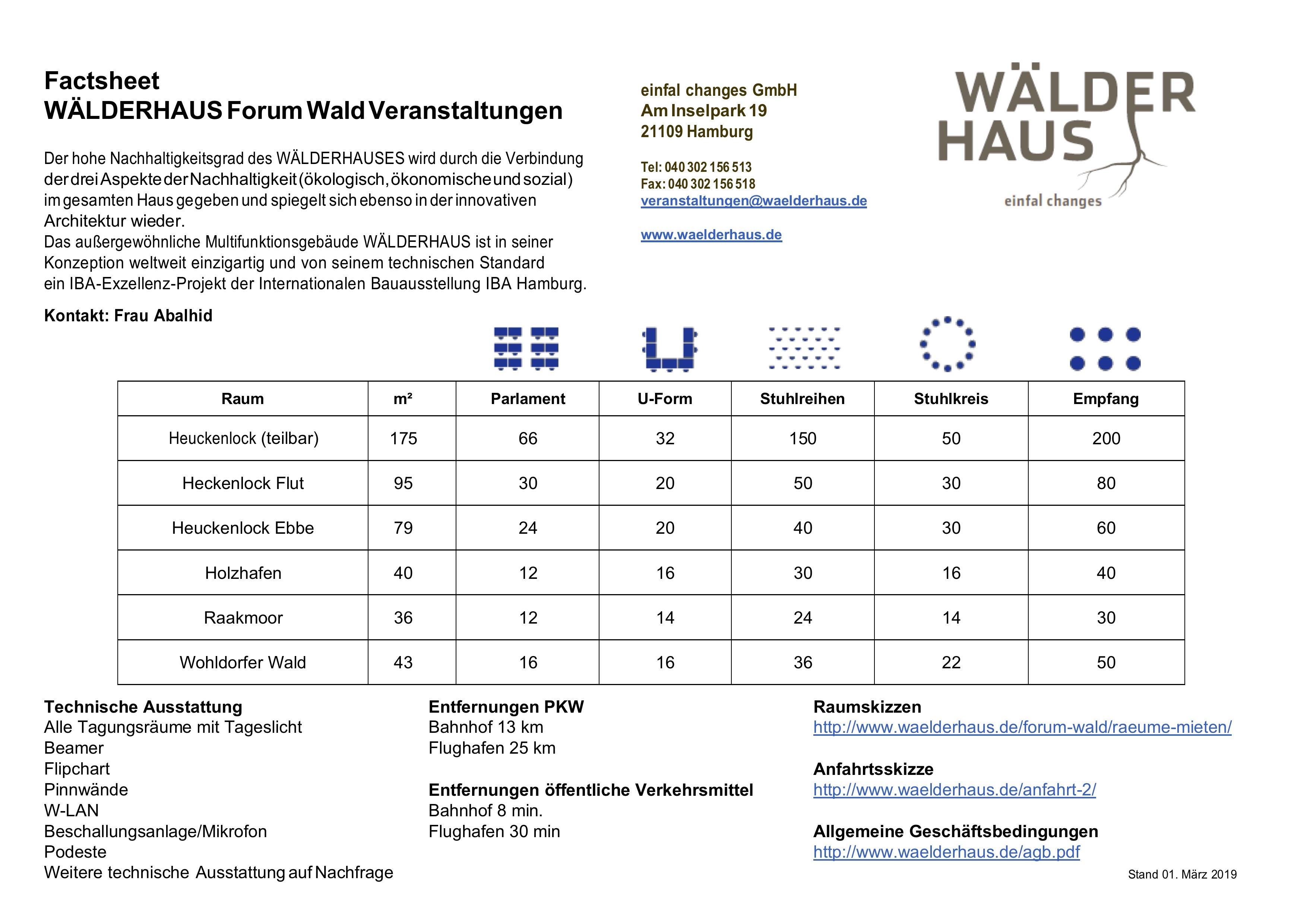 Factsheet Seminarräume Wälderhaus